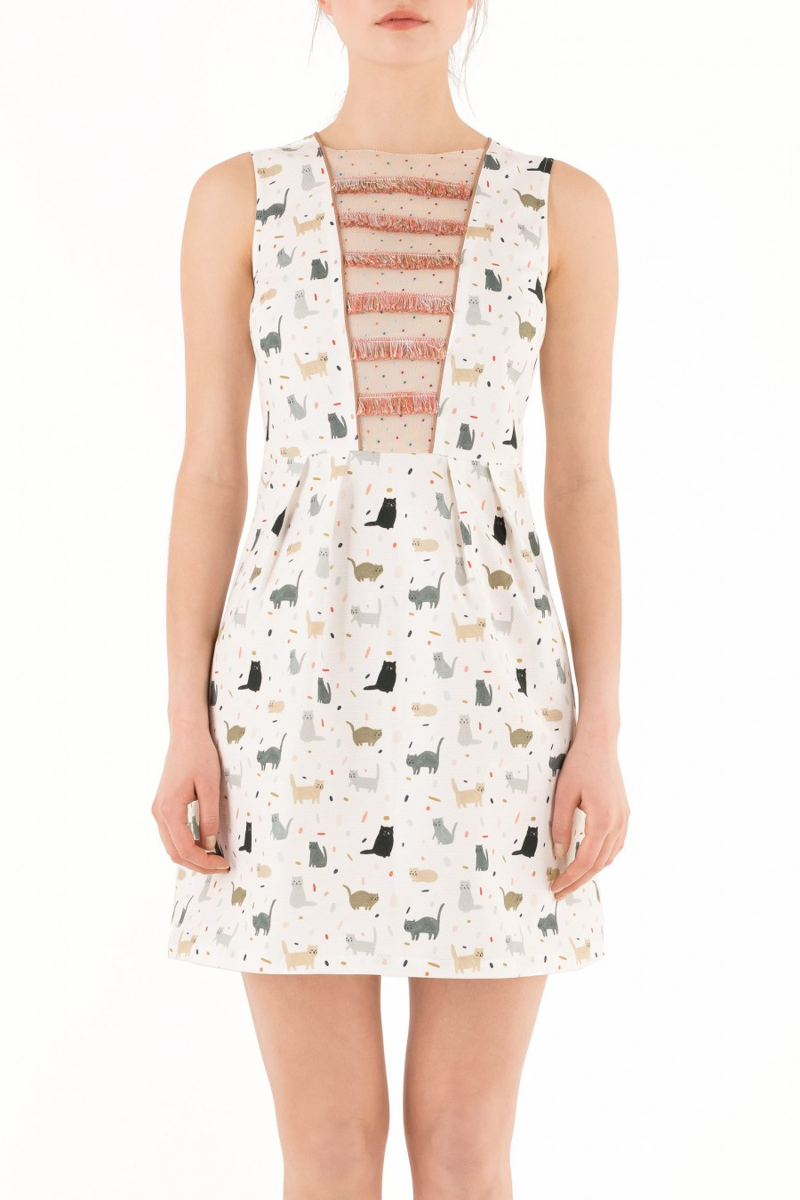 Cotton piquet dress with cats