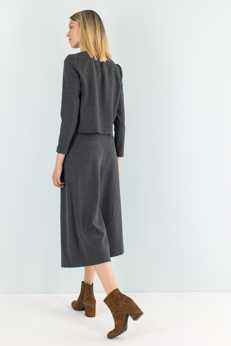Grey flannel culotte trousers