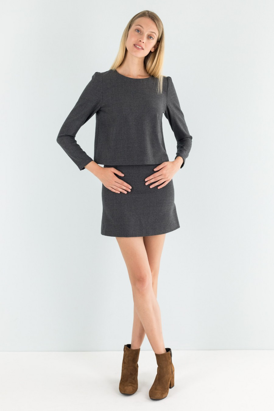 Grey flannel mini skirt