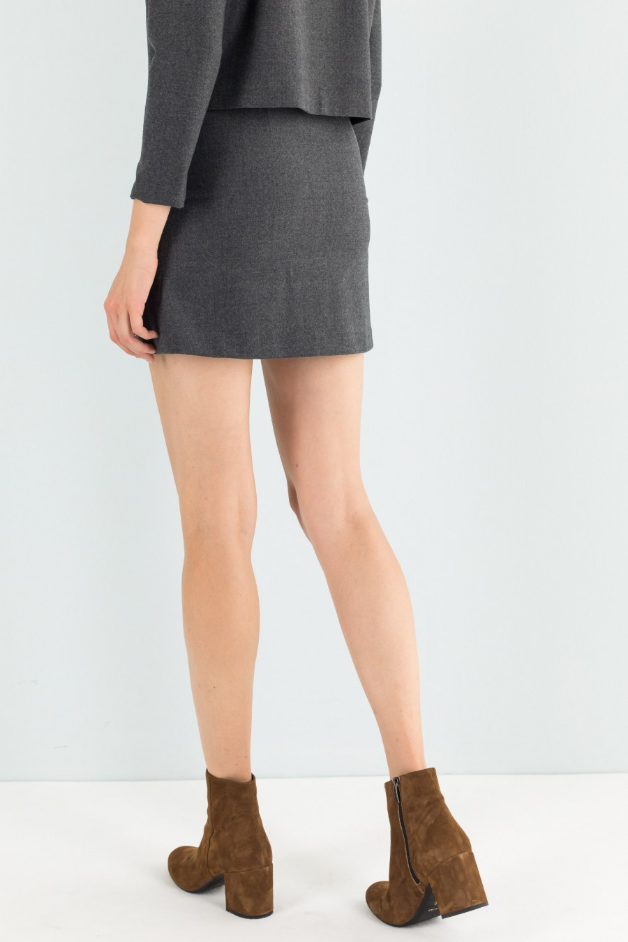 Grey simple mini skirt