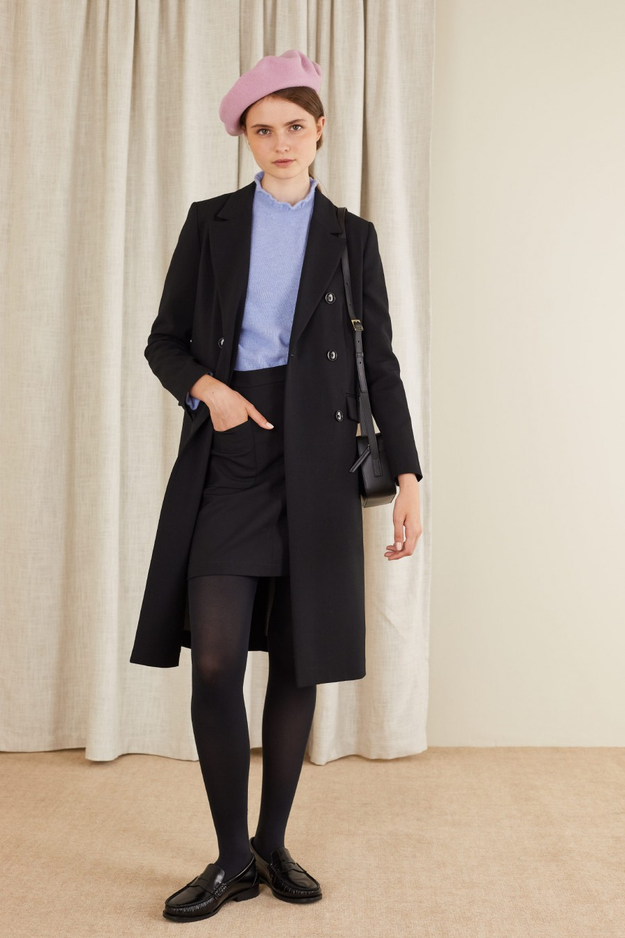 Double-breasted overcoat in stretch wool crêpe