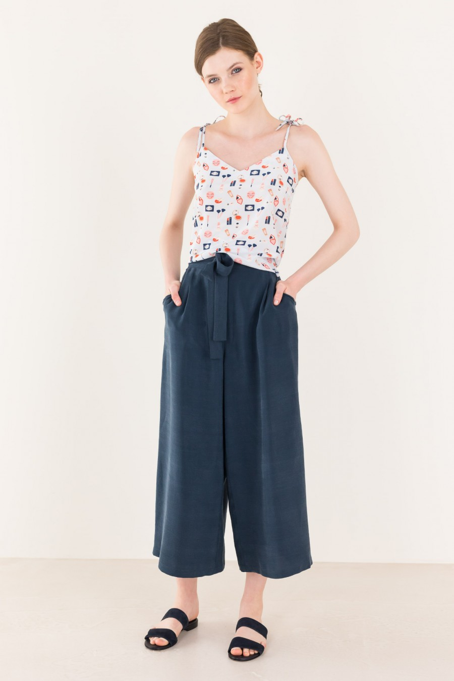 Blue flowing trousers