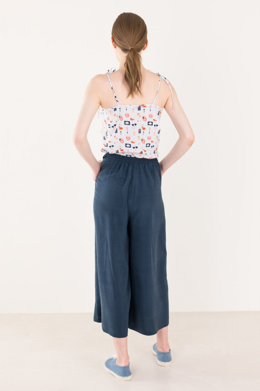 Wide summer blue trousers