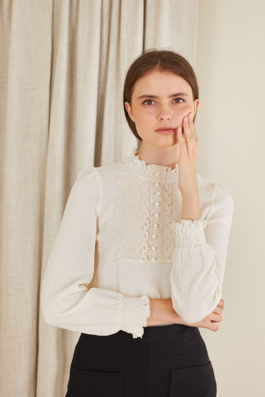 elegant blouse with lace and buttons