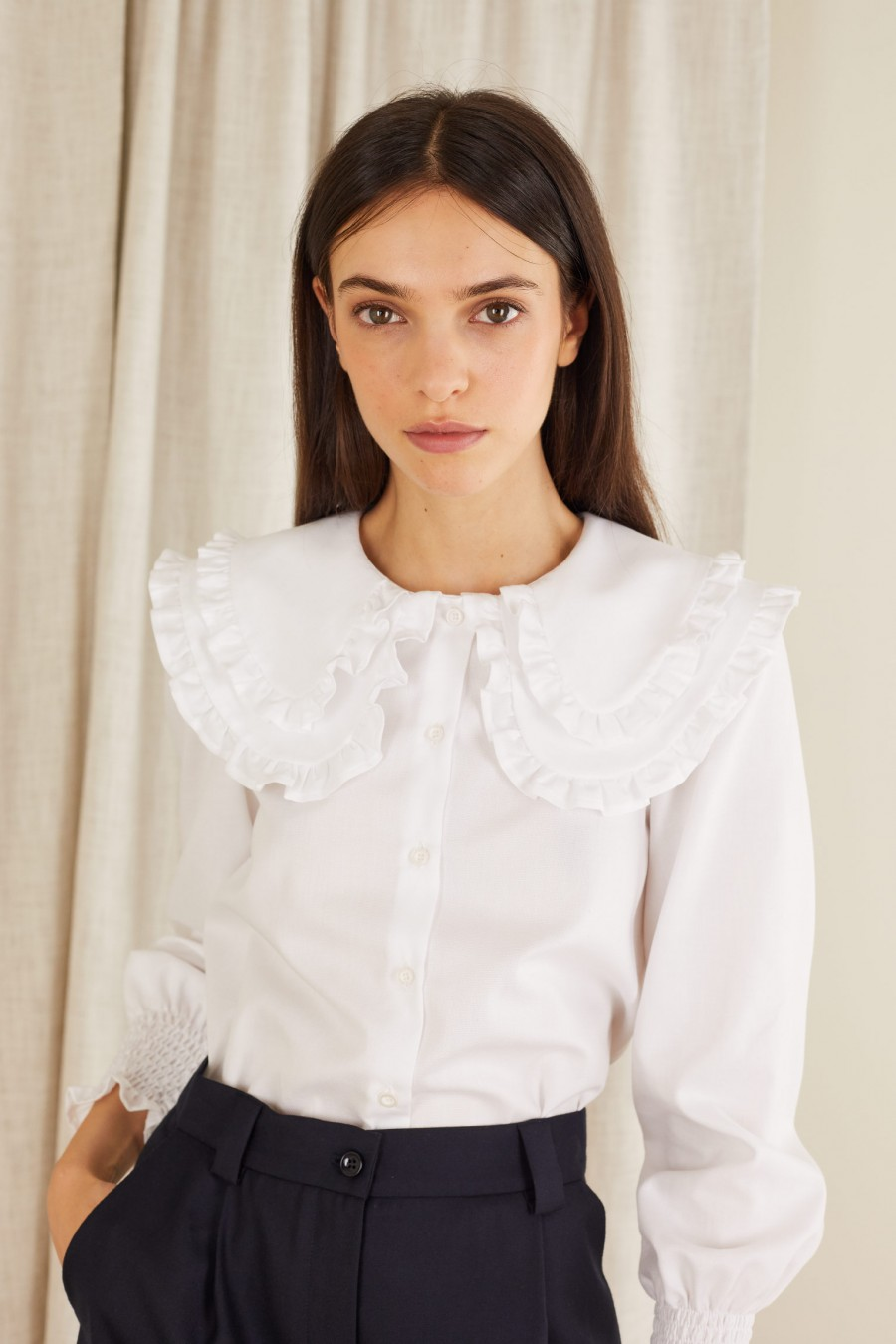 Cotton shirt with double maxi collar
