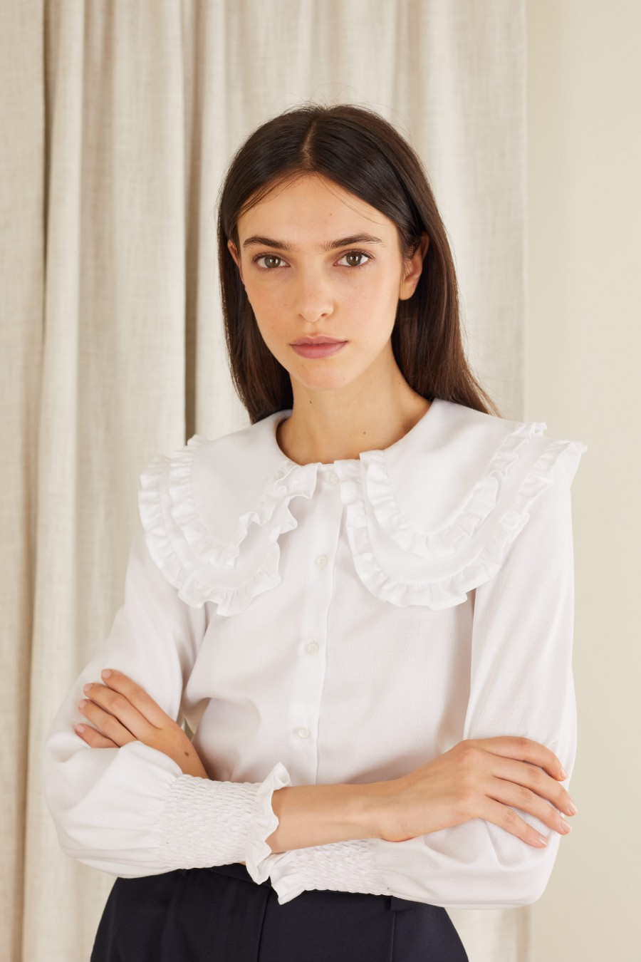 white shirt with double maxi collar