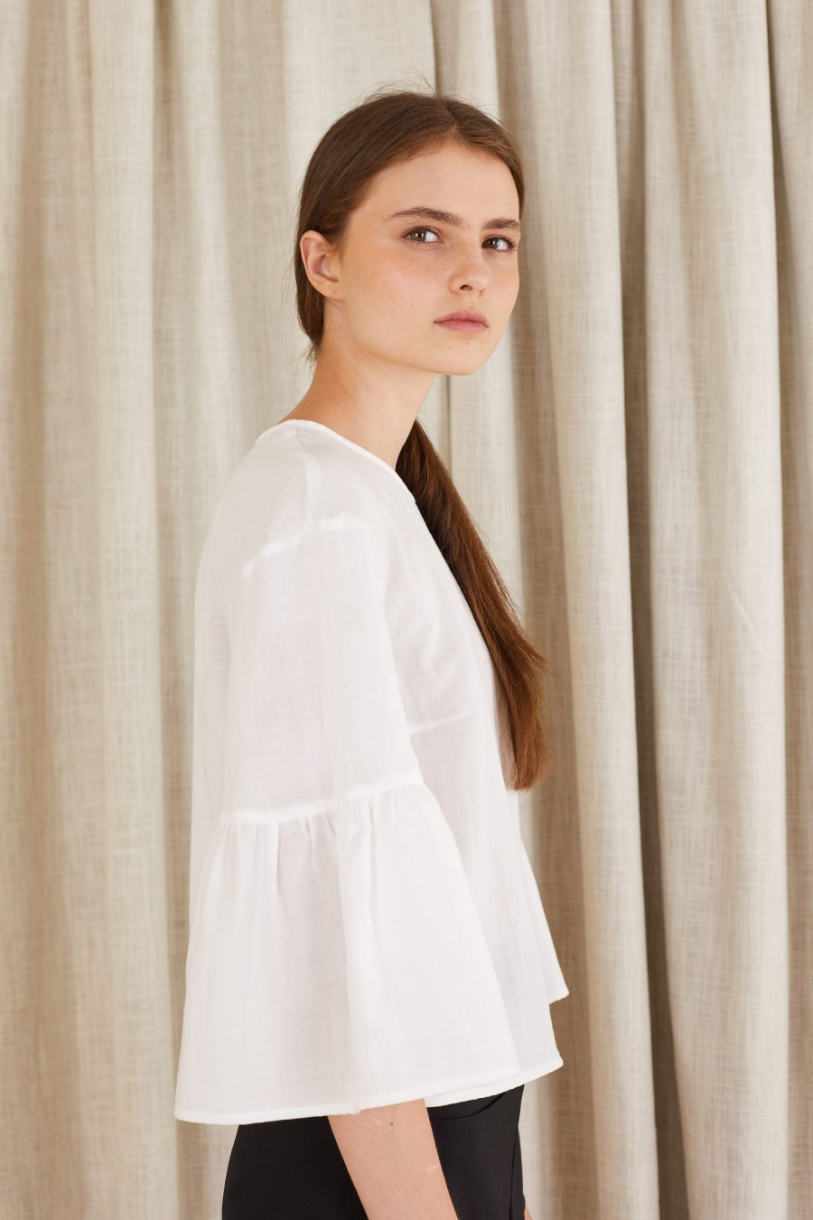 cotton blouse with bell sleeves