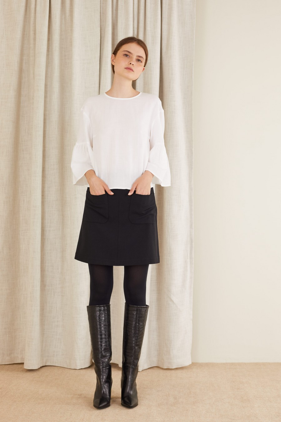 cotton top with bell sleeves