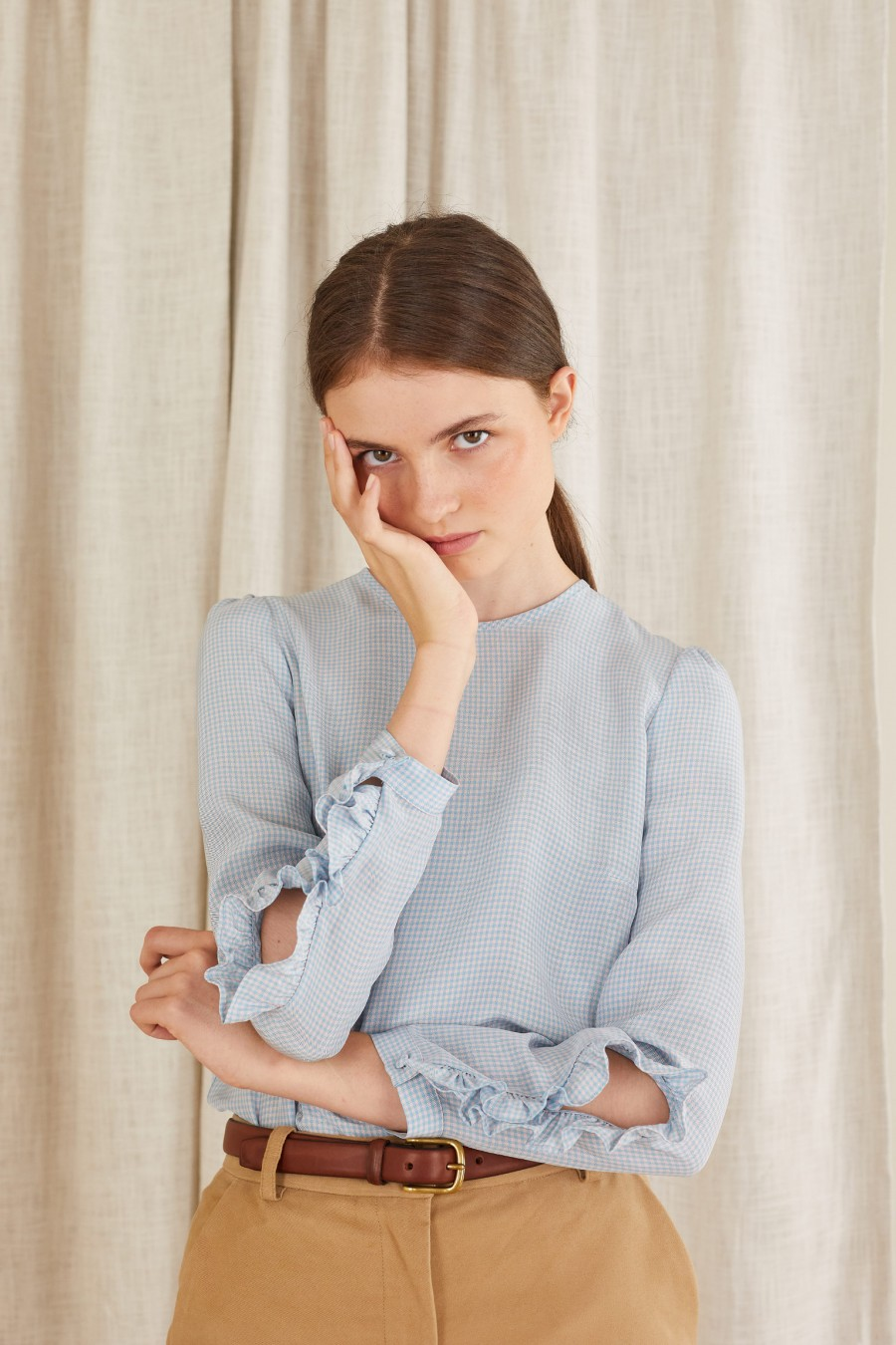 light blouse with slits on the sleeves