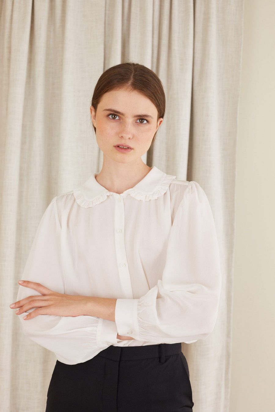 Crepe de chine silk shirt with volants on the collar