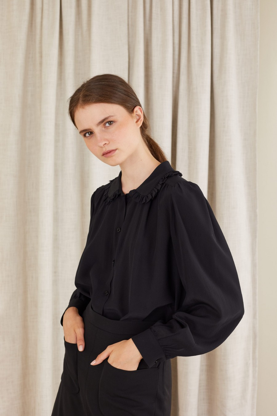 black fluid silk shirt