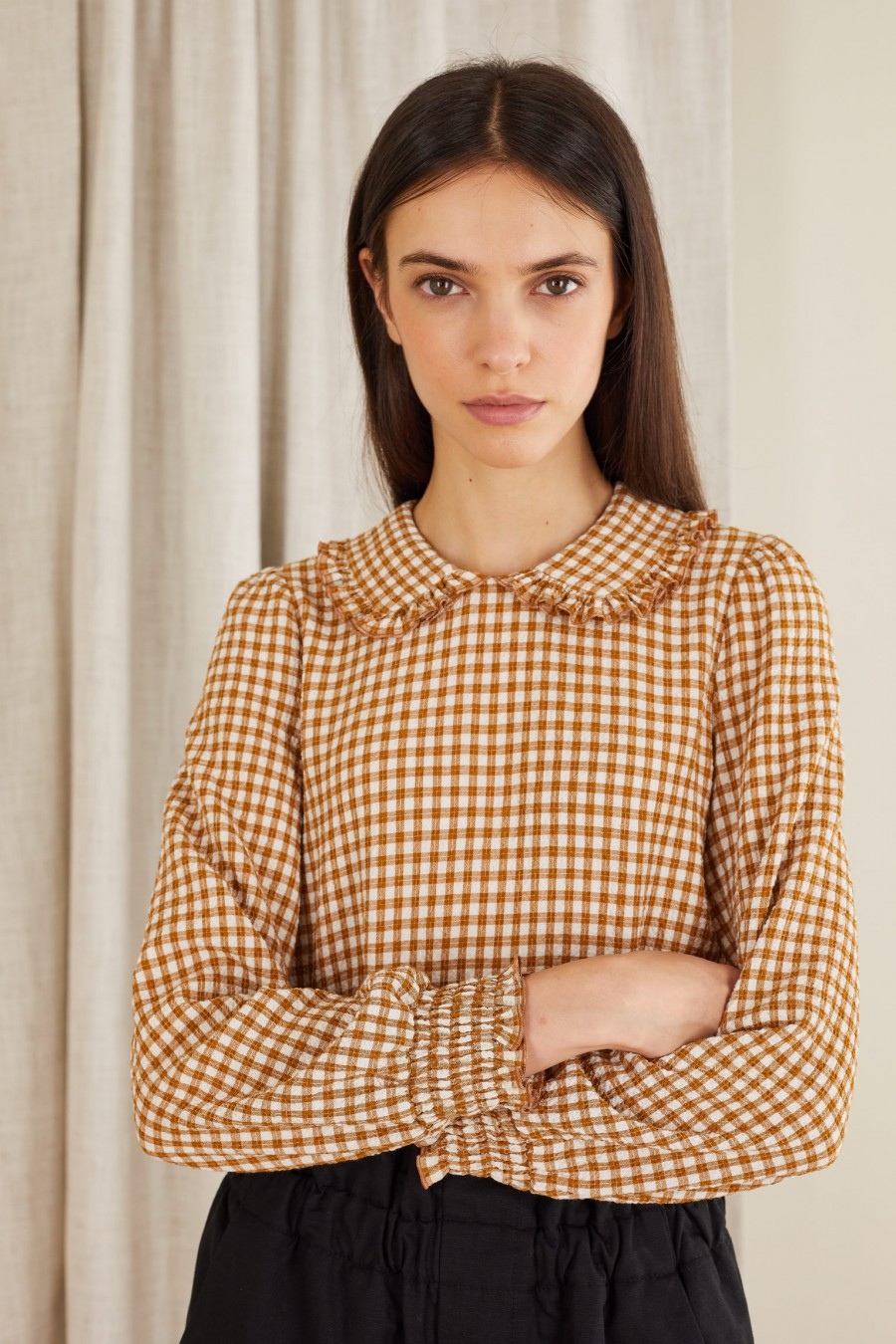brown vichy print seersucker blouse