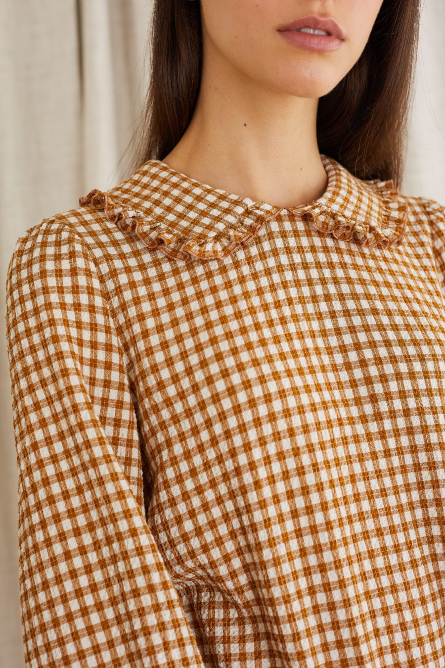 biscuit brown vichy print blouse