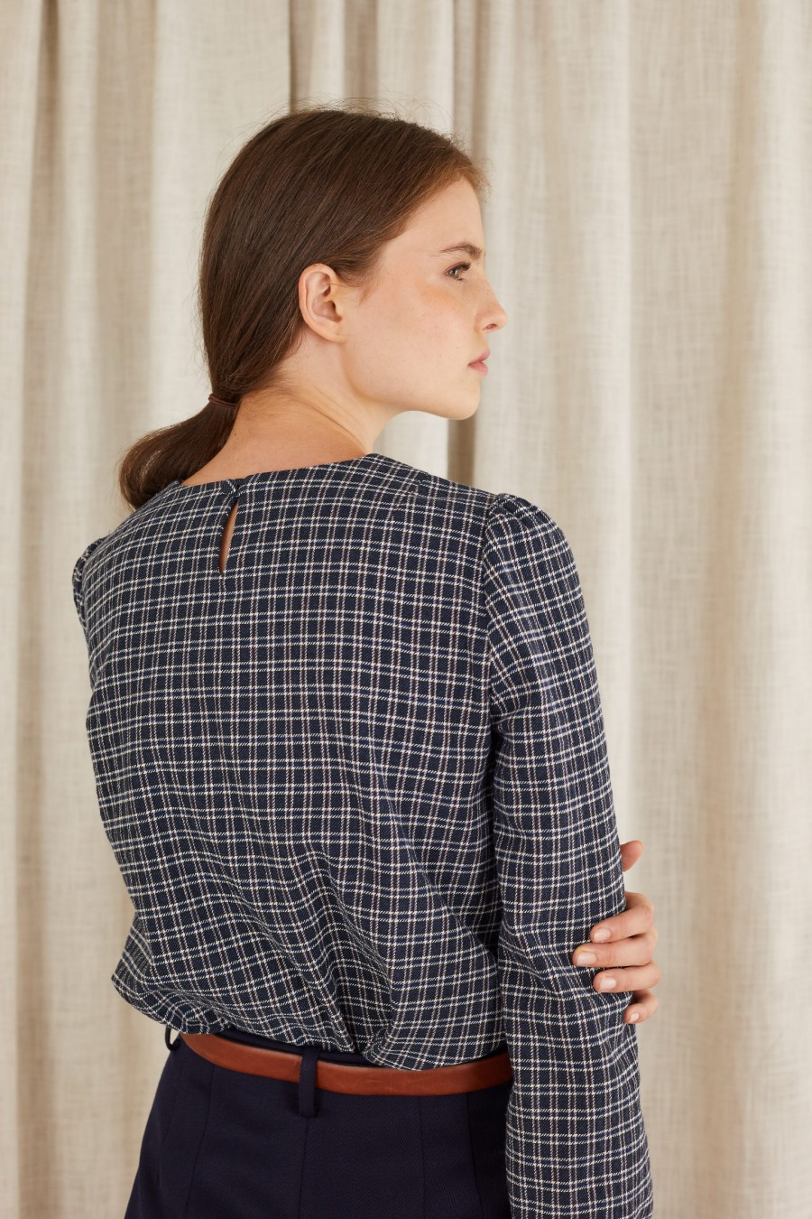tartan top with blue micro checks