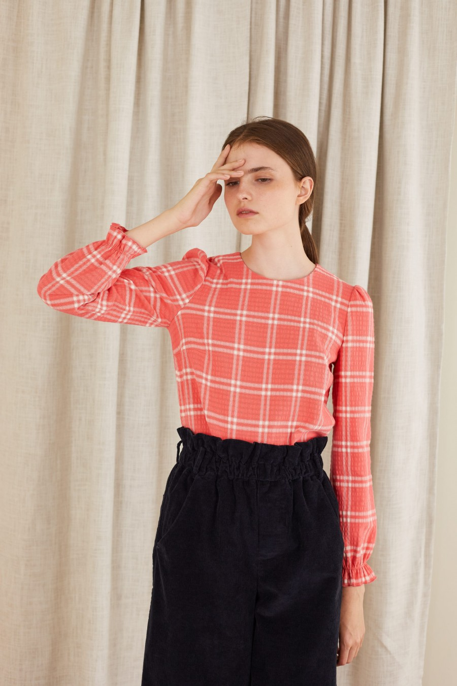 Tartan top with gathered cuffs