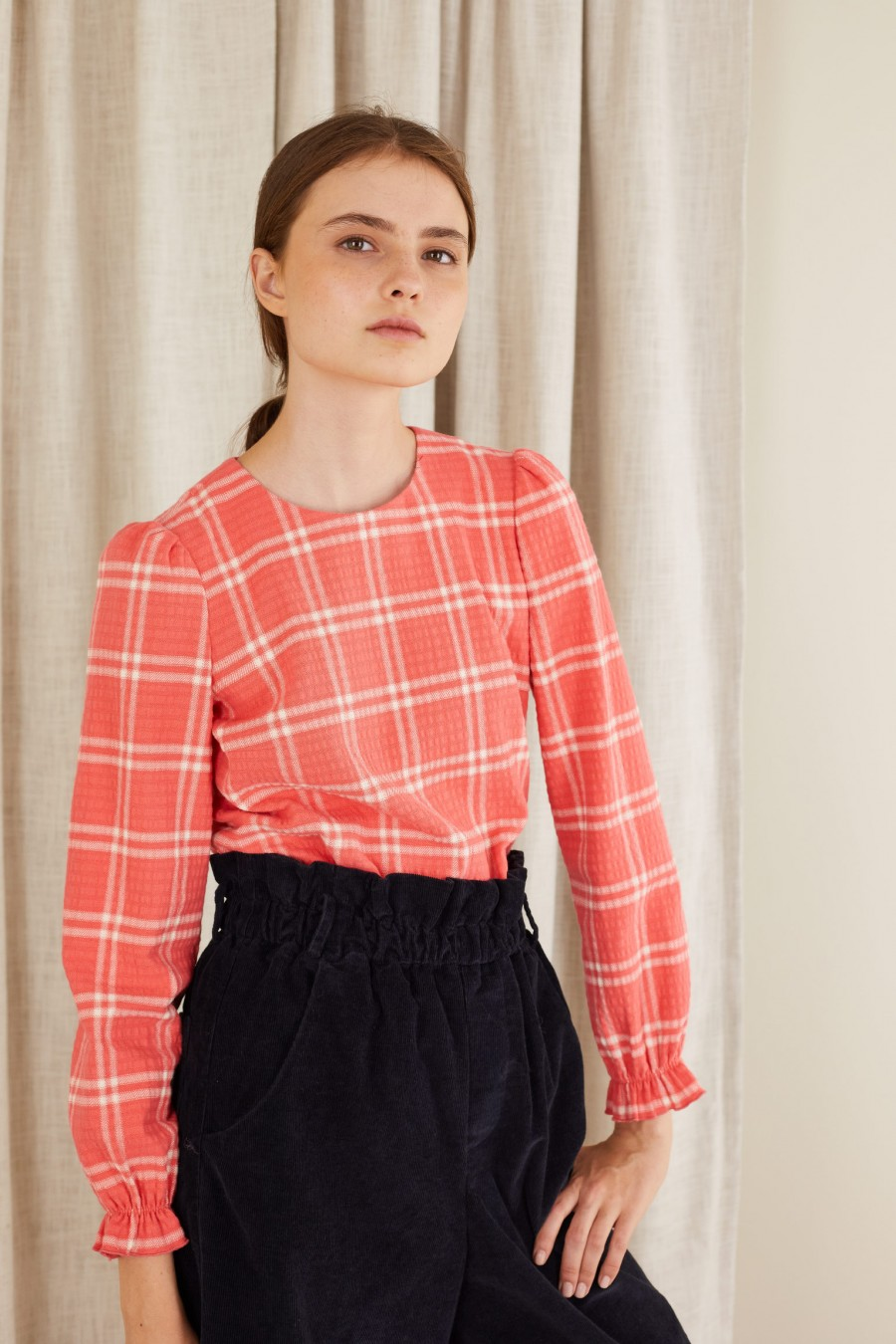 tartan top with maxi checks on pink
