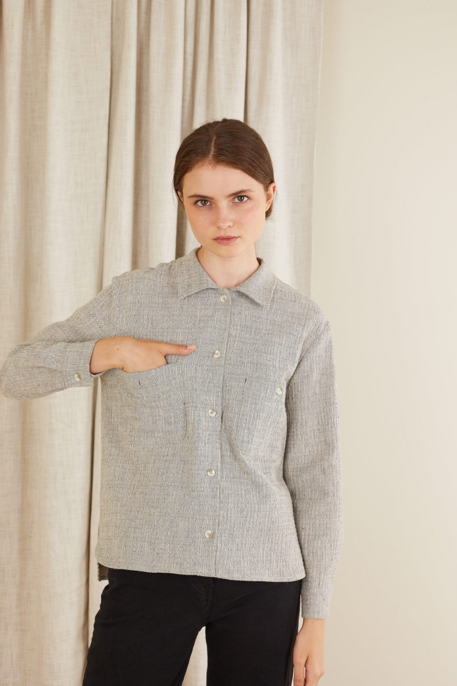 Embossed fabric shirt with pockets