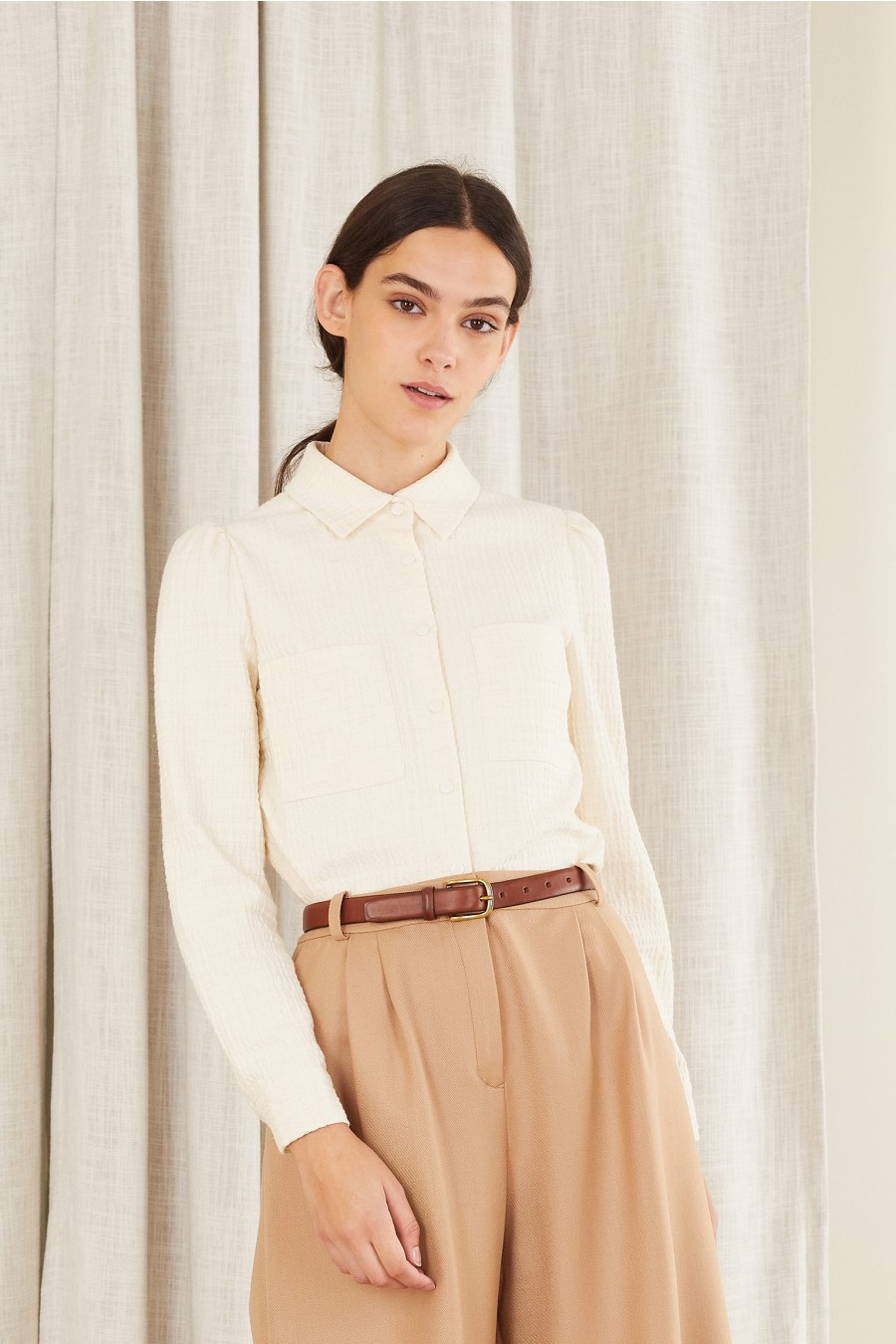 white blouse with pockets