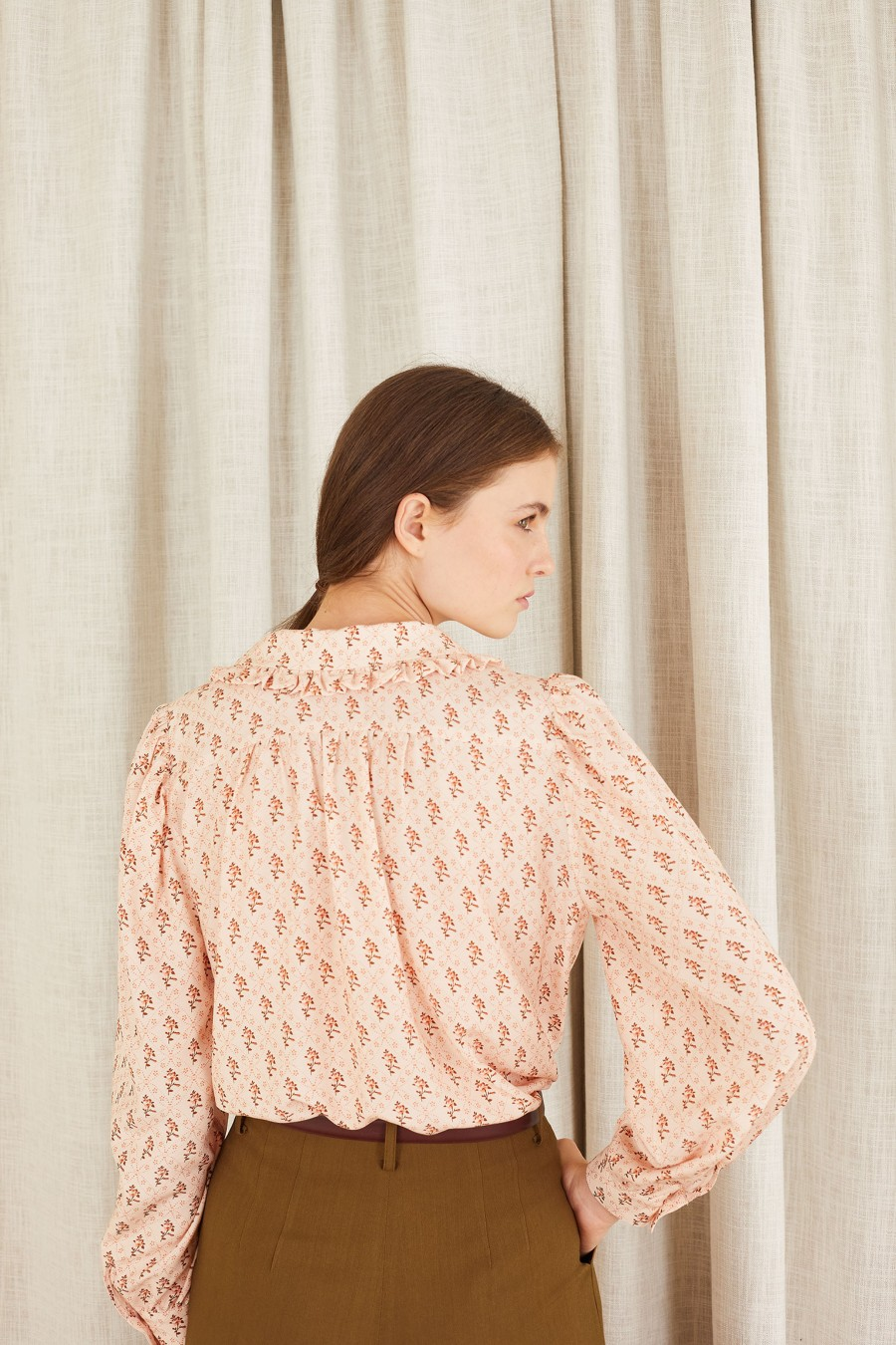 pink shirt with little flowers