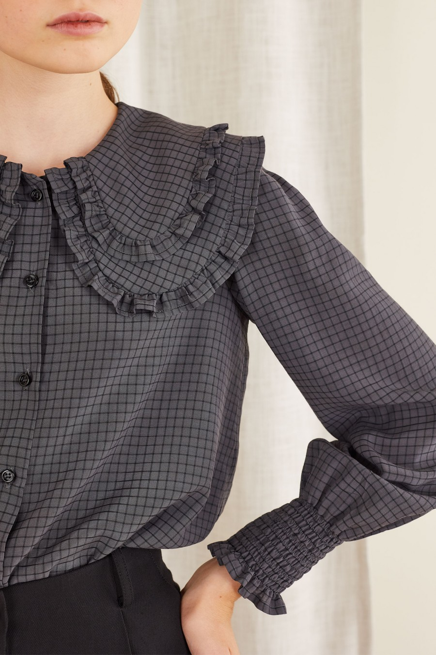grey checked shirt with double collar