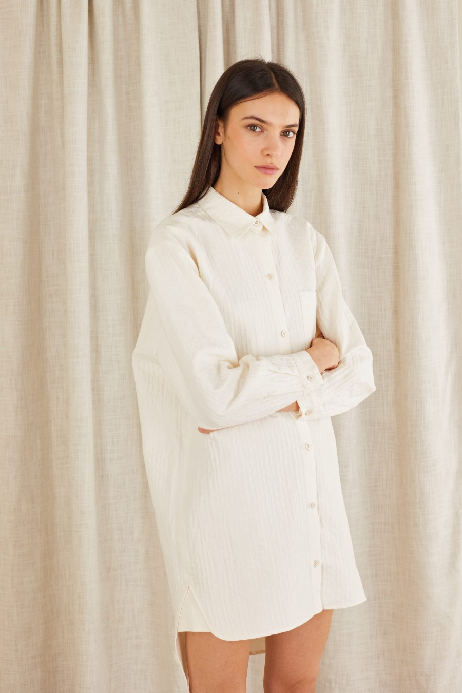 embossed fabric shirt dress