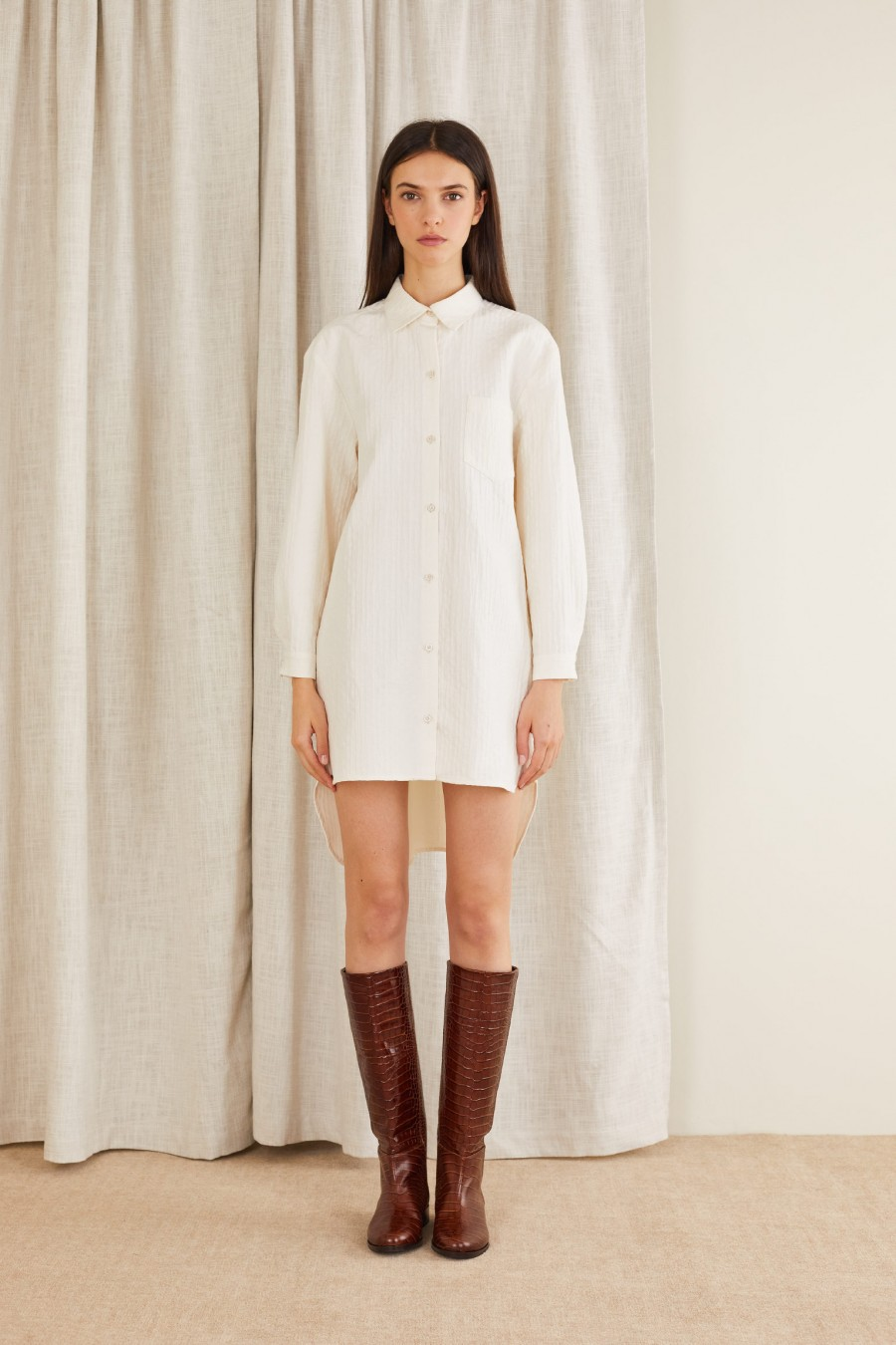 white shirt dress with croco print boots