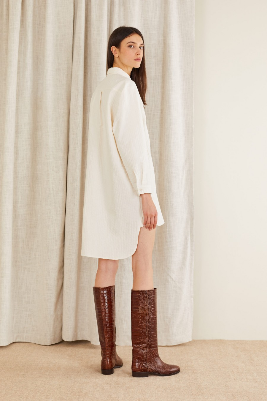 shirt dress with boots for a party