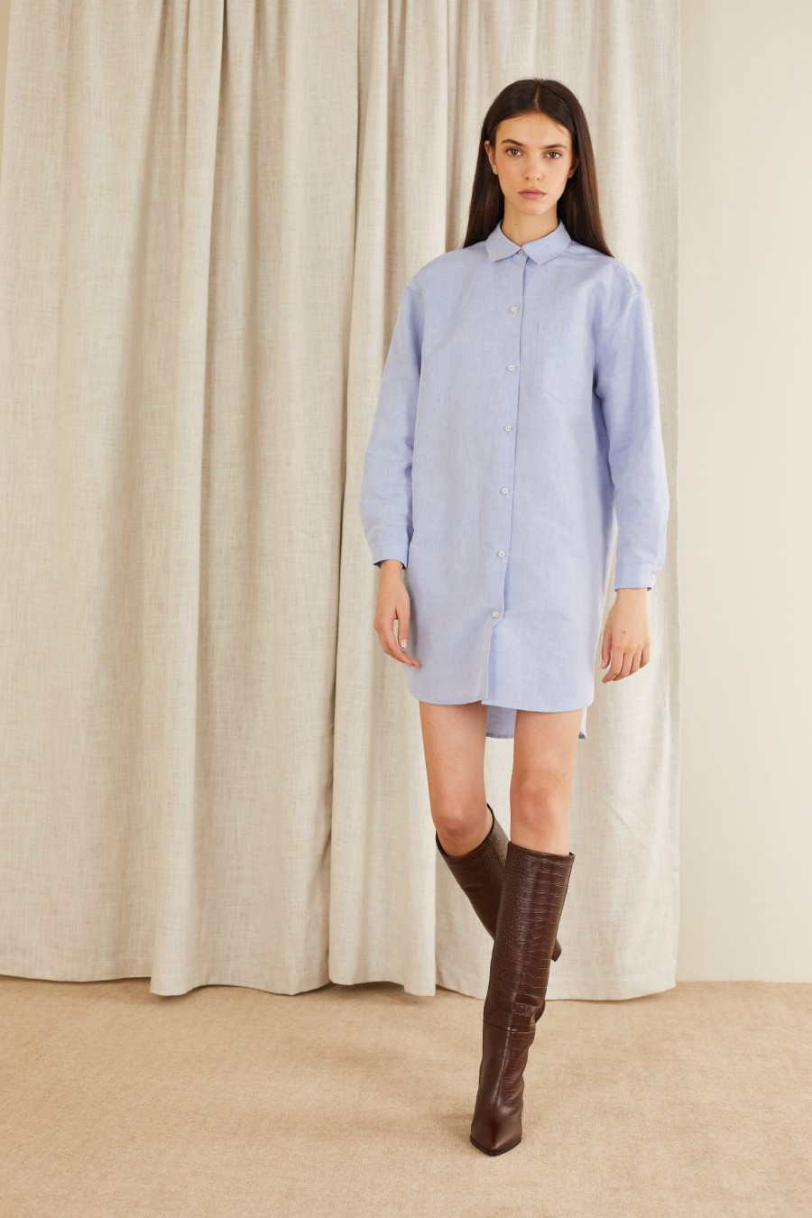 light blue linen blend shirt dress