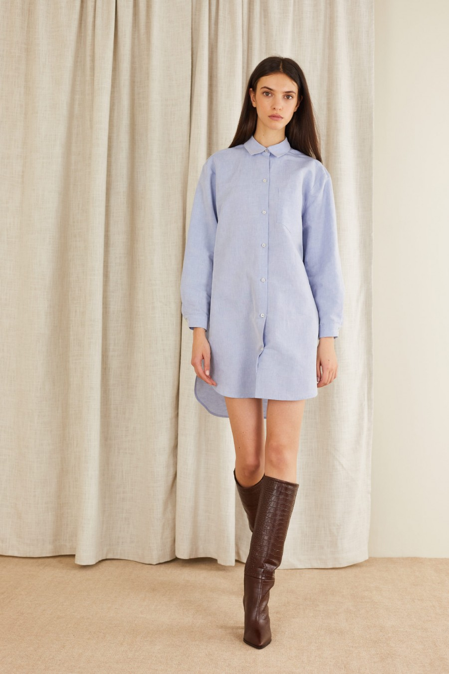 light blue shirt dress with tube boots