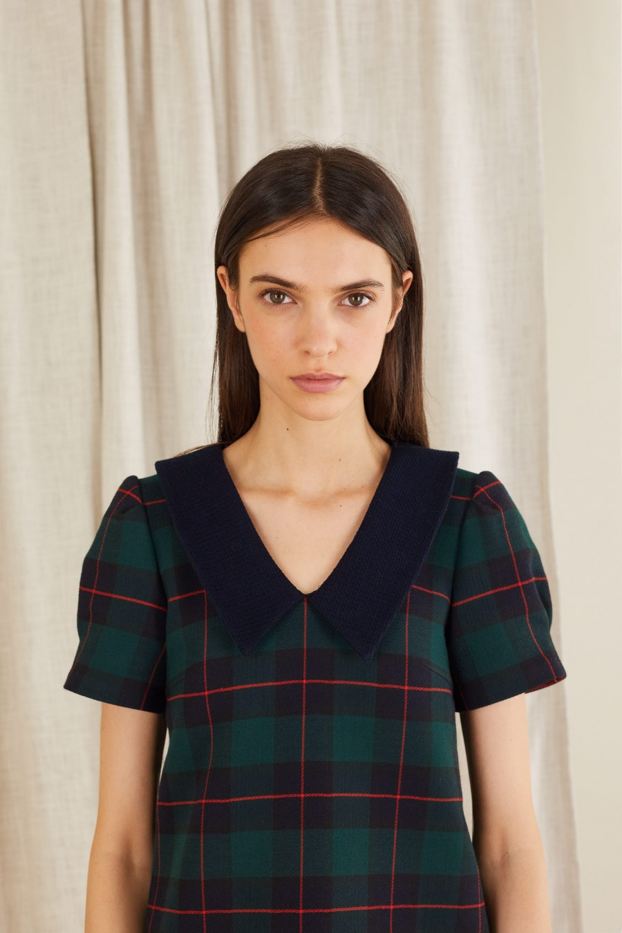 tartan dress with 60's style pointed collar