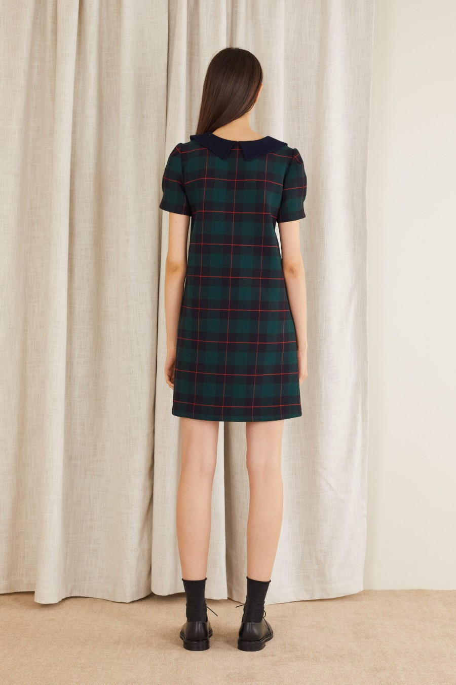 tartan dress with short sleeves