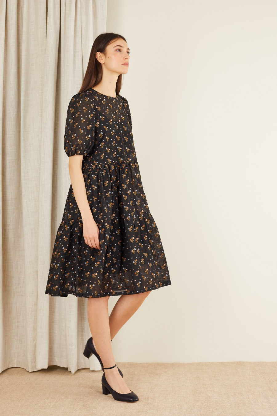 Tiered dress with fil coupé flowers
