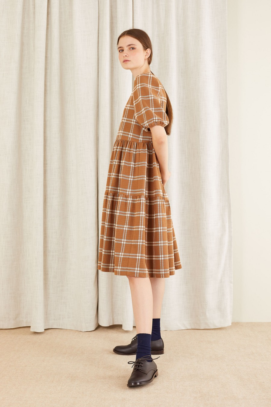 biscuit brown checked dress