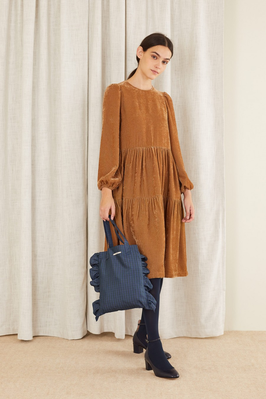 camel velvet tiered dress
