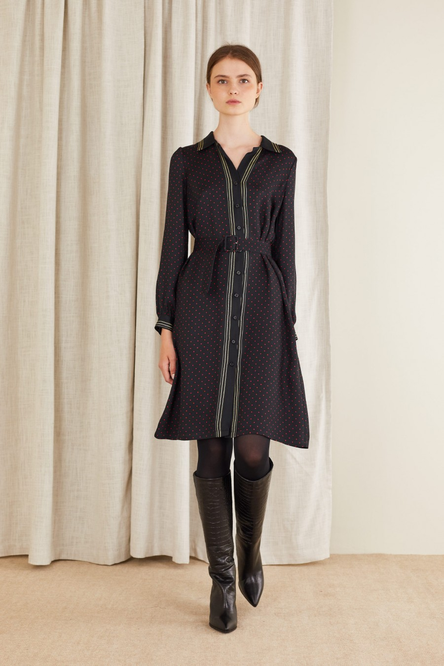 Fluid shirt dress with matching belt