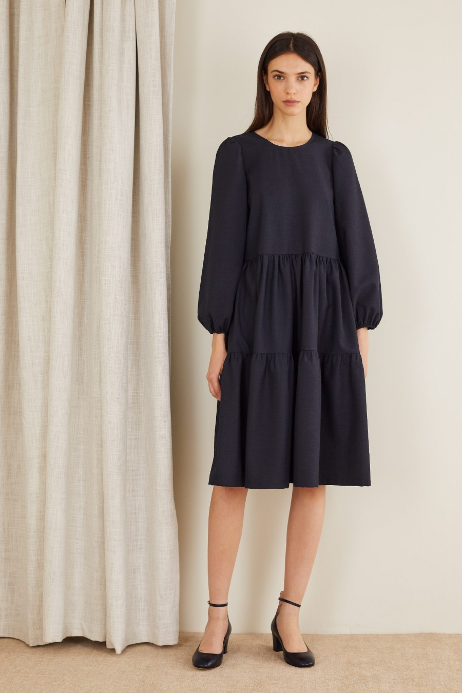 Long-sleeved tiered dress