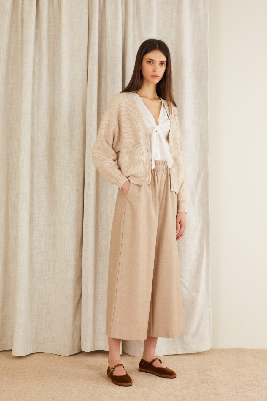 Culottes trousers in virgin wool