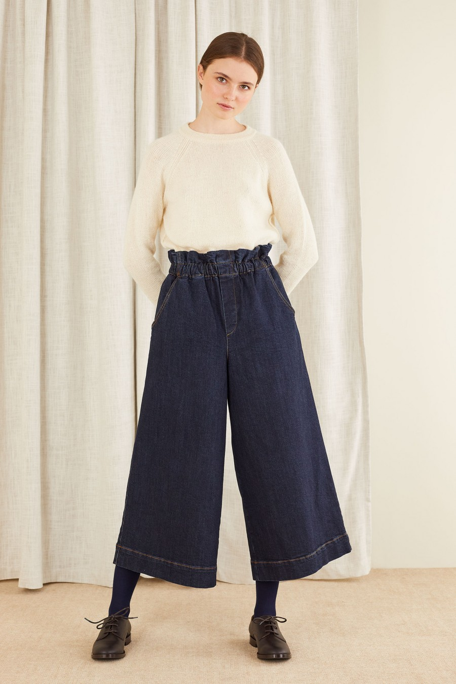 Culottes denim trousers with elastic waistband