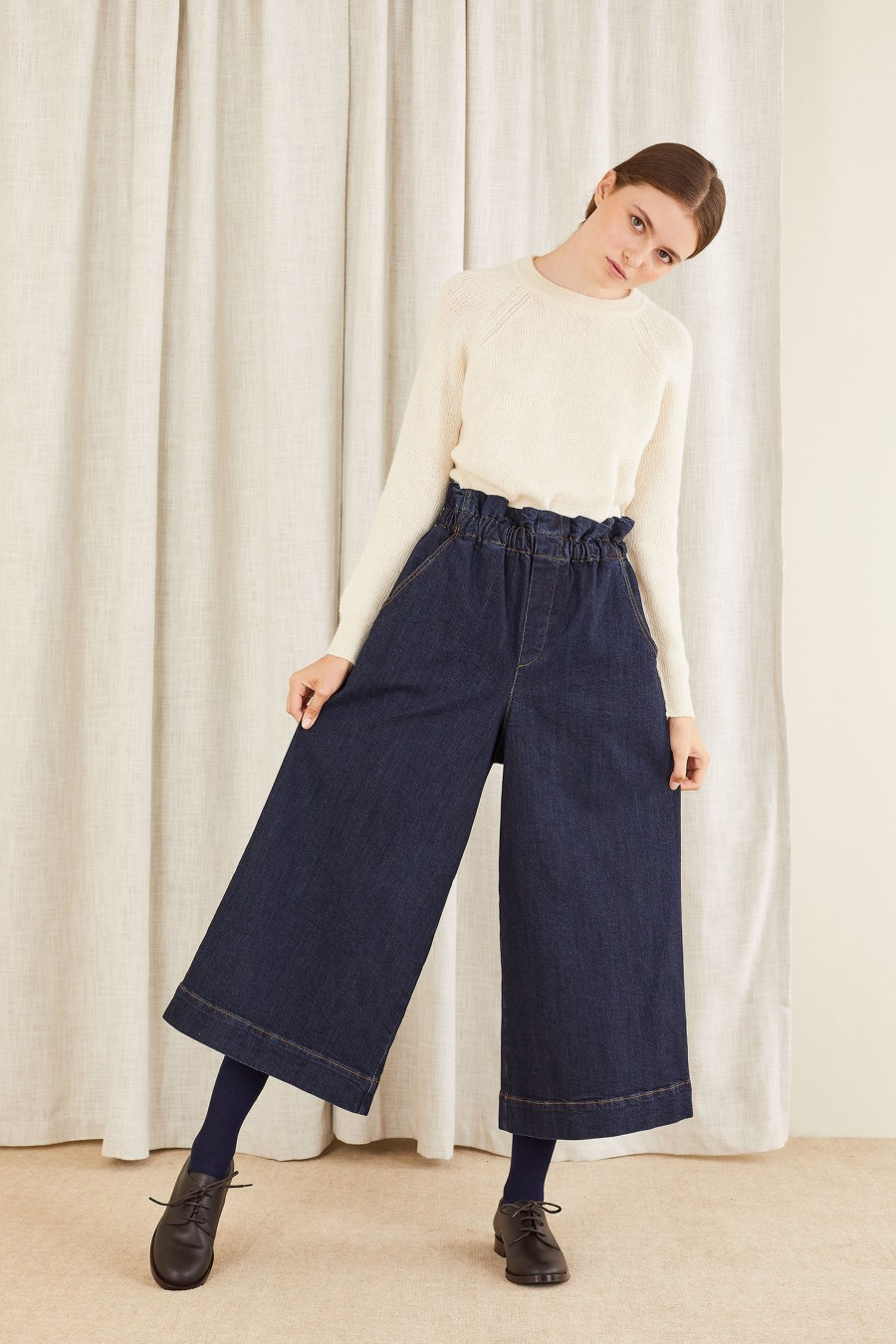 high waisted large denim trousers