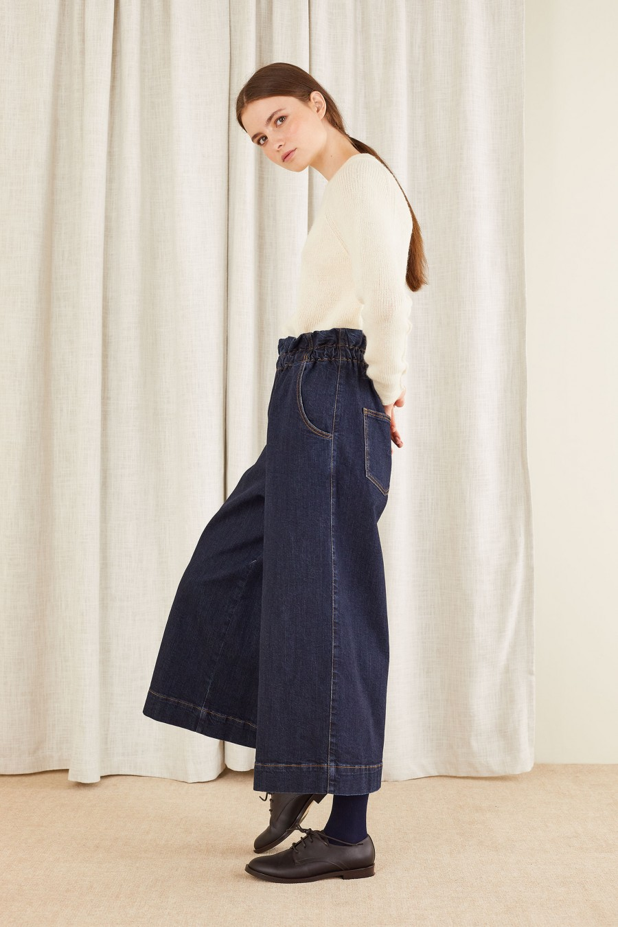 fashionable culottes denim trousers