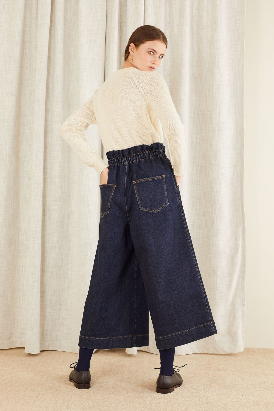 trendy style with culottes denim trousers