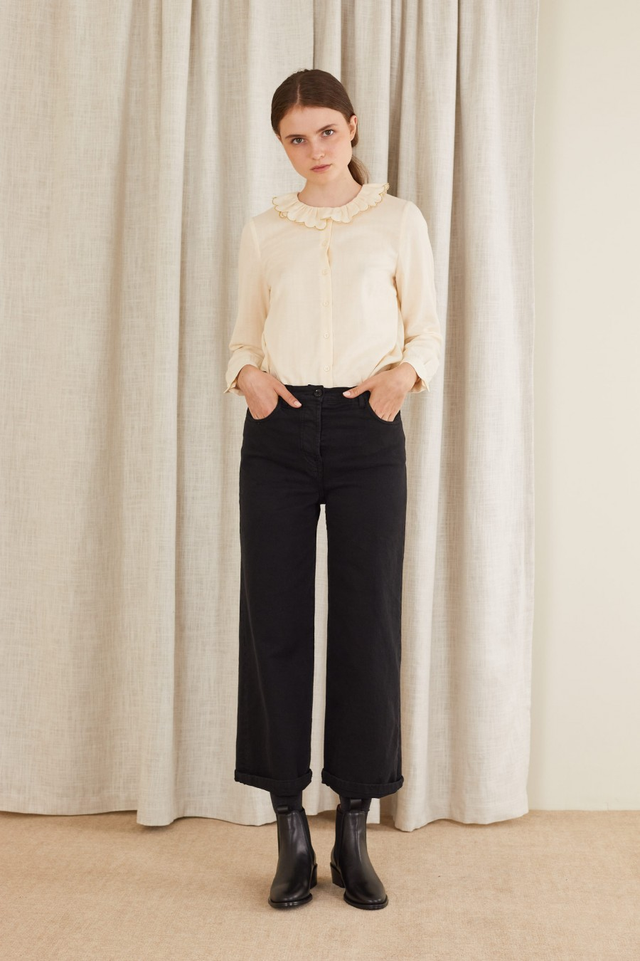 Straight gabardine trousers