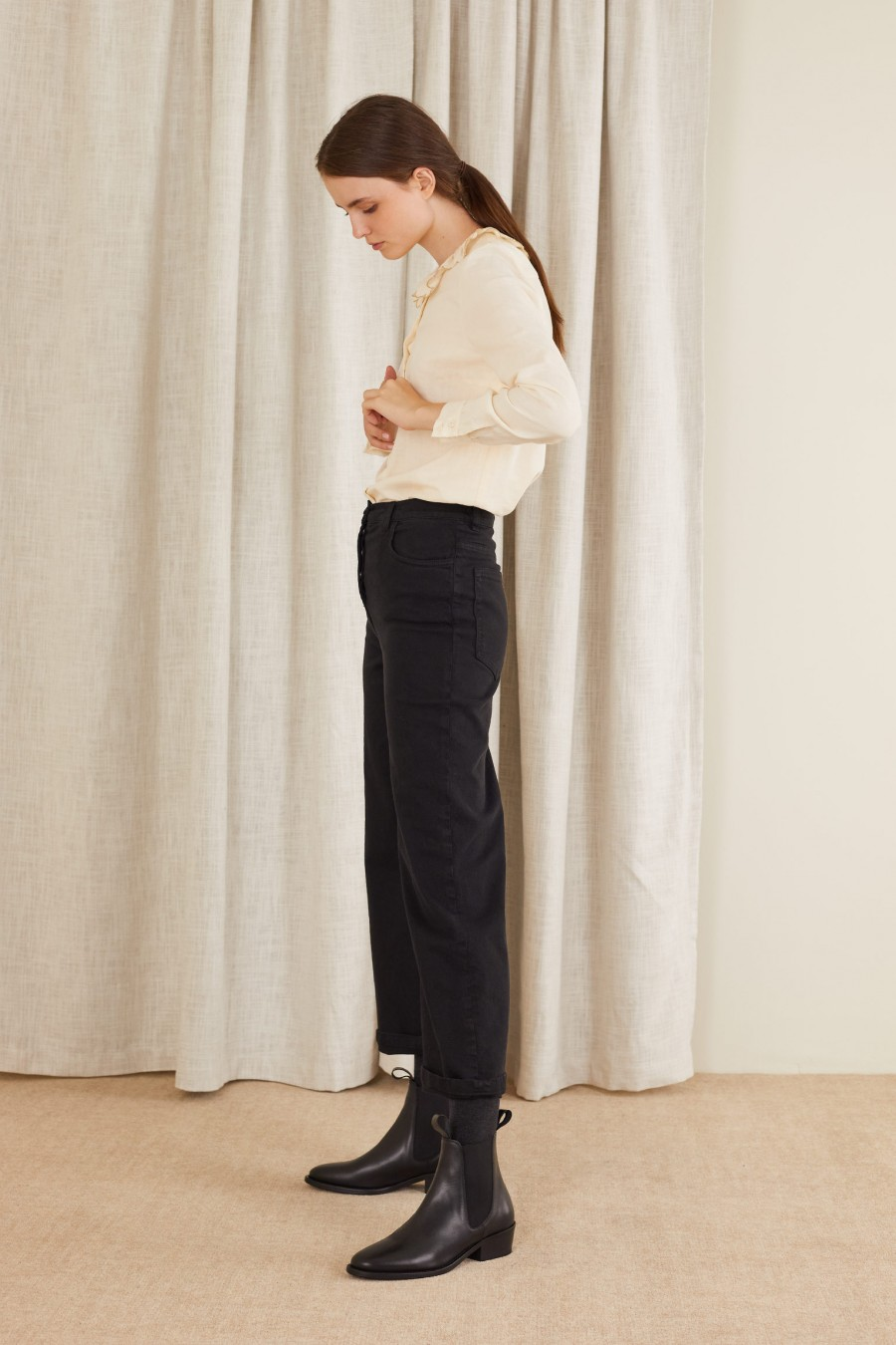 comfortable straight trousers
