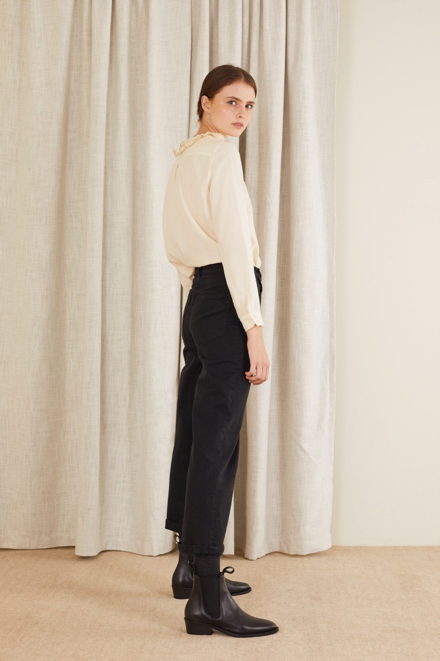black gabardine trousers