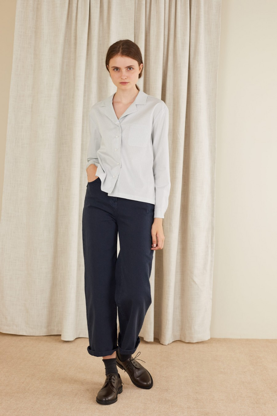 blue gabardine straight trousers