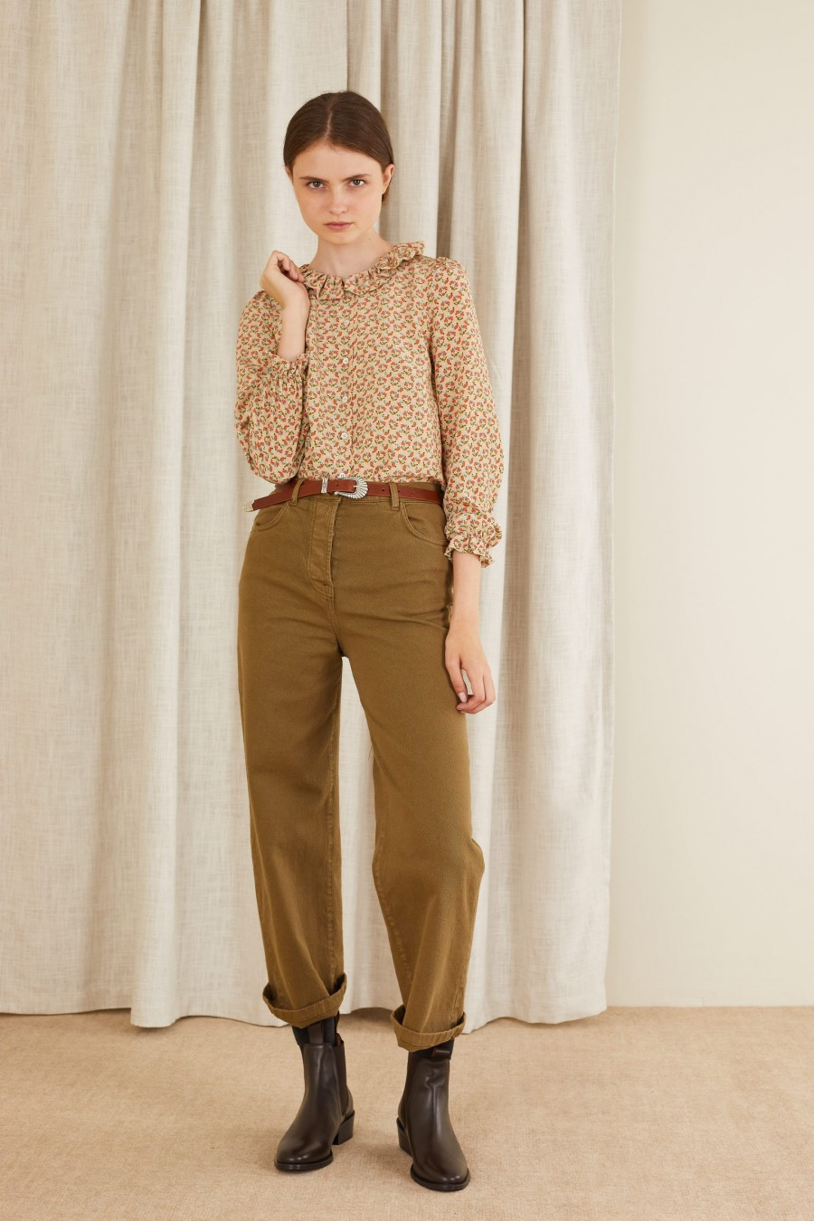 biscuit brown gabardine trousers