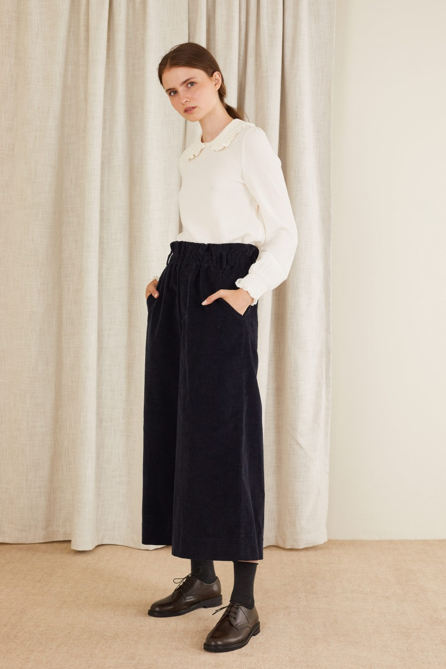Corduroy trousers with elasticated waist