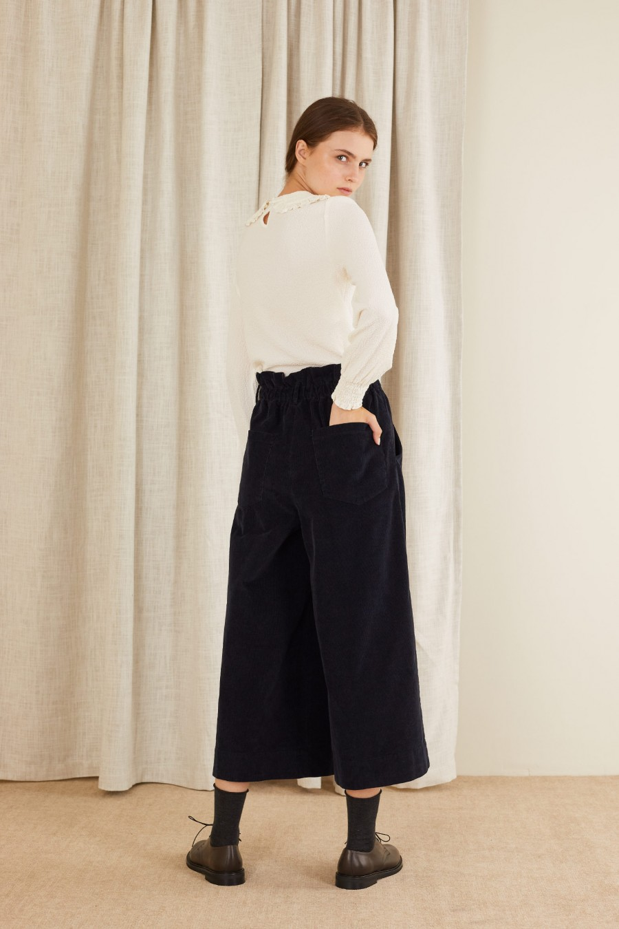 wide paper bag trousers made in italy