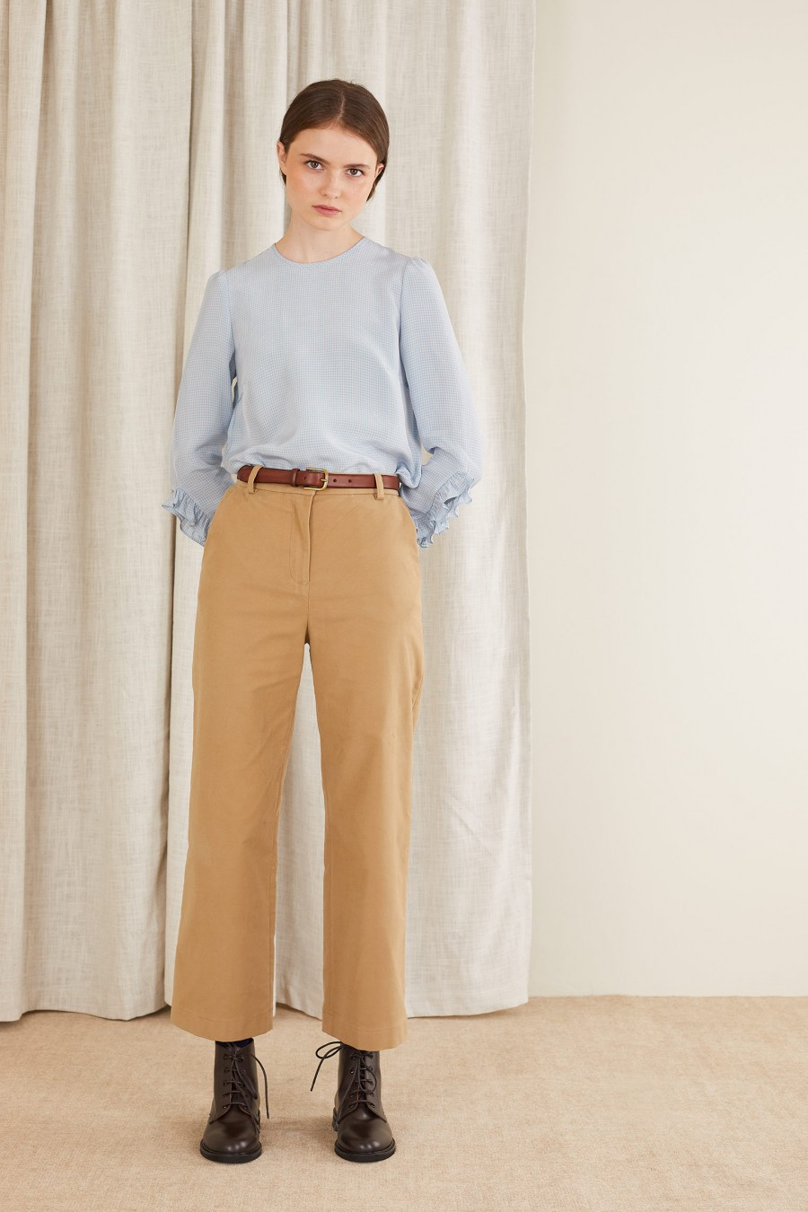 Sanded cotton trousers