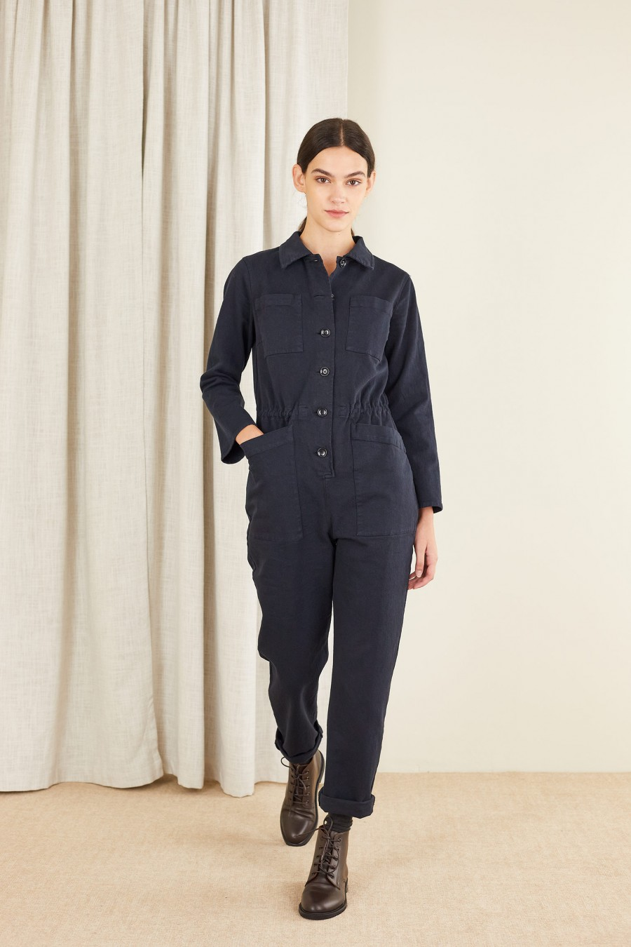 Cotton long sleeve jumpsuit